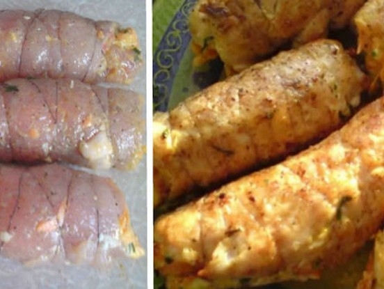 """""""Bajāru"""" ruletītes no vistas filejas. Vismaigākā gaļa ar aromātisku un gardu pildījumu!"""