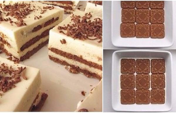 Biezpiena torte ar cepumiem. Viegli un ātri pagatavojama