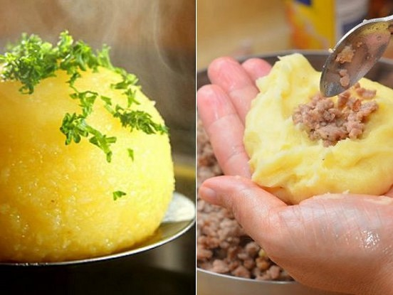 Kartupeļu bumbas ar malto gaļu