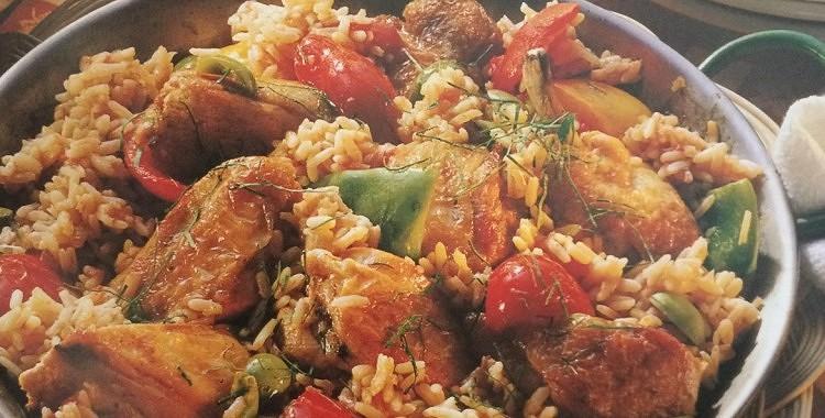 Vista ar rīsiem un dārzeņiem