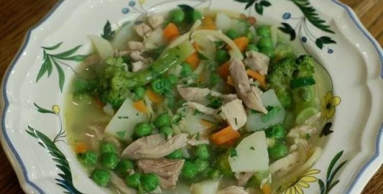 Vistas zupa ar spageti un brokoļiem