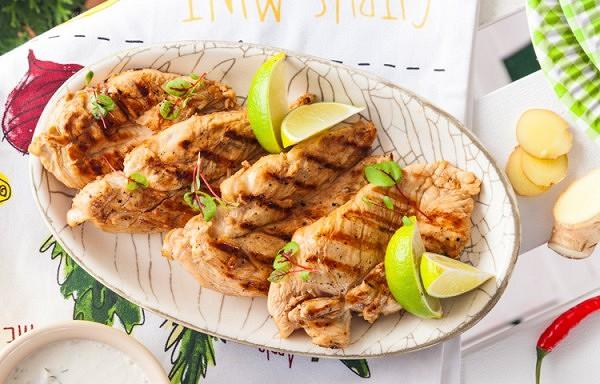 Uz grila cepta vistas gaļa ar ingveru