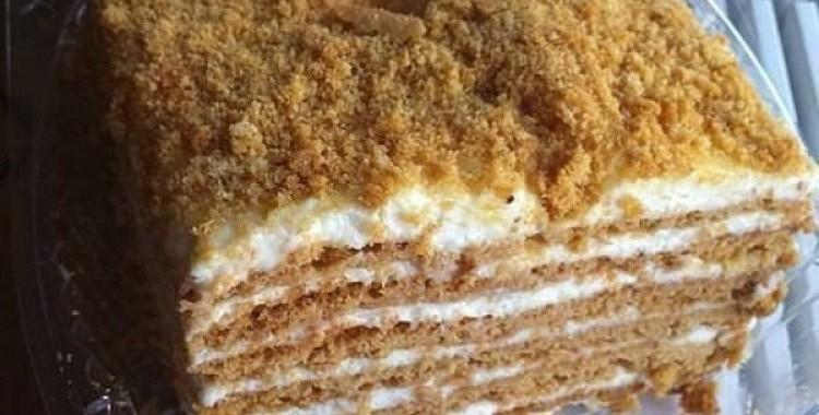 Mājās gatavota krējuma - medus torte