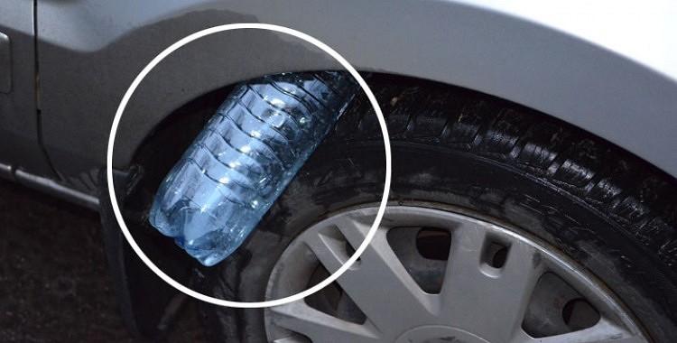 Ja Jūs pamanāt tukšu plastmasas pudeli starp sava auto virsbūvi un riepu, nekavējoties  sauciet policiju